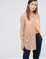 Selected Valeria Long Sleeve Dot Collarless Shirt