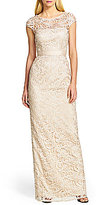 Adrianna Papell Cap-Sleeve Lace Gown