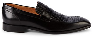 Saks Fifth Avenue Made In Italy Woven Leather Penny Loafers