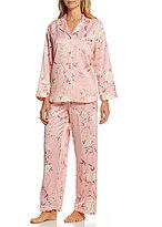 Miss Elaine Petite Brushed Back Satin Floral Pajamas