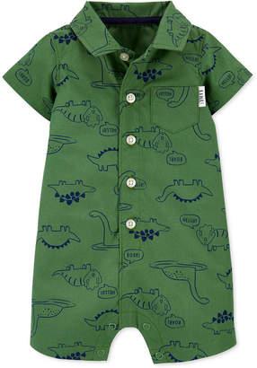 Carter's Carter Baby Boys Dinosaur-Print Button-Front Cotton Romper