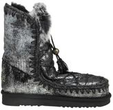 """Mou Boote """"eskimo Dream Lace Up & Fur"""" In Laminated Leather And Black"""