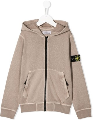 Stone Island Junior Compass Badge Zip-Up Hoodie