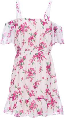 Rachel Zoe Cold-shoulder Gathered Floral-print Chiffon Mini Dress