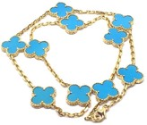 Van Cleef & Arpels 18K Yellow Gold Alhambra Turquoise Necklace