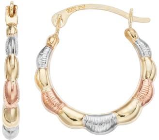 Taylor Grace Stella Grace 10k Scalloped Tri-Color Hoop Earrings