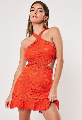 Missguided Orange Lace Halterneck Cut Out Dress