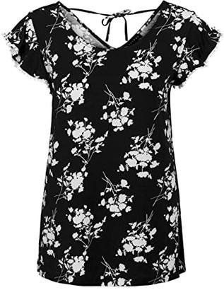 Tribal Flutter Sleeve Top (Black) Women's Clothing