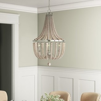 3 - Light Unique Empire Chandelier Beaded Accents Joss & Main Finish: Brushed Steel/Weathered White
