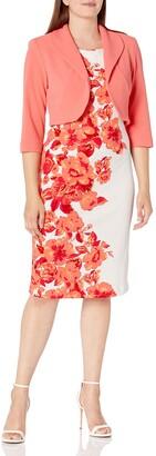 Maya Brooke Women's Side Border Floral Jacket Dress
