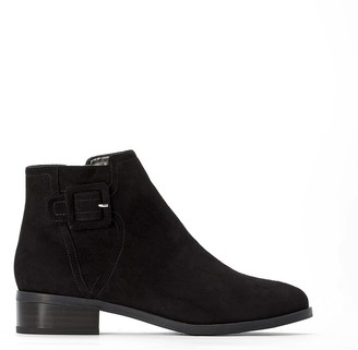 La Redoute Collections Faux Suede Buckled Ankle Boots with Zip Deatil