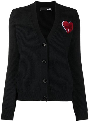 Love Moschino Ribbed Knit Cardigan With Logo Patch