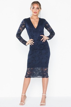 Honor Gold Lana Navy Lace Midi Dress With Long Sleeves