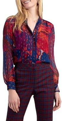 Trina Turk Streep Floral-Printed Blouse