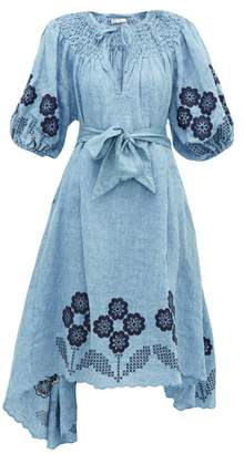 Innika Choo Hugh Jesmock Linen Chambray Midi Dress - Womens - Denim