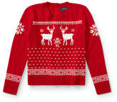 Ralph Lauren 7-16 Reindeer Button-Back Sweater
