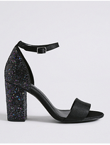 M&S Collection Two Part Block Heel Sparkle Sandals