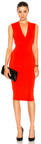 Victoria Beckham Matte Jersey Sleeveless V Neck Fitted Dress in Red.