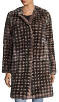 Yves Salomon Checkered Rex Rabbit Fur Coat