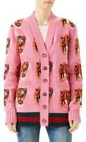 Gucci Wool Jacquard Tiger-Print Cardigan
