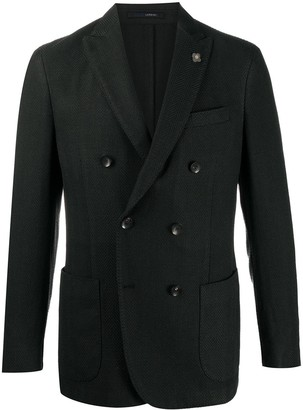 Lardini Fitted Double-Breasted Blazer