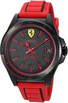 Ferrari Men's 'Pilota' Quartz Stainless Steel and Rubber Casual Watch, Color:Red (Model: 830424)