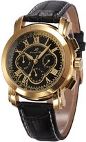K&S KS Golden 6 Hands Luxury Leather Band Automatic Mechanical Men's Wrist Watch KS046