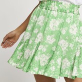 Thumbnail for your product : River Island Womens Petite Green floral print mini skirt