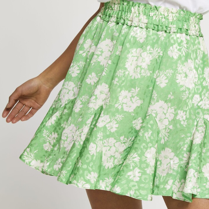Thumbnail for your product : River Island Womens Petite Green mini floral flounce skirt