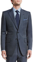 Tom Ford O'Connor Base Peak-Lapel Two-Piece Wool/Silk Reps Suit, Blue