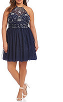 B. Darlin Plus Halter Beaded Bodice Fit-And-Flare Dress