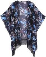 soul young Women's Floral Aztec Leopard Light Chiffon Beachwear Cover up Kimono Cardigan Outfit(,Royal)