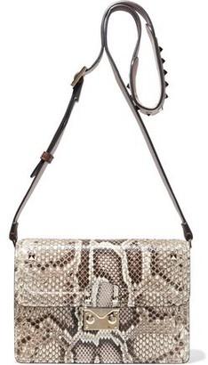Valentino Studded Snake-effect Leather Shoulder Bag