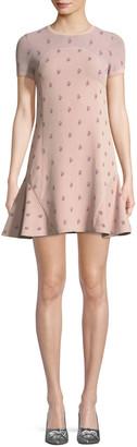 Valentino Crewneck Short-Sleeve Rose-Jacquard Fitted Dress