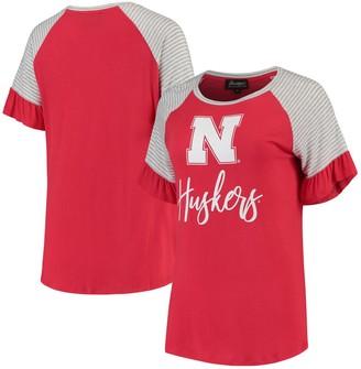 Women's Scarlet Nebraska Cornhuskers Twist It Up Ruffle Sleeve Raglan T-Shirt
