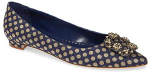 Manolo Blahnik Hangisi Floral Pointy Toe Flat