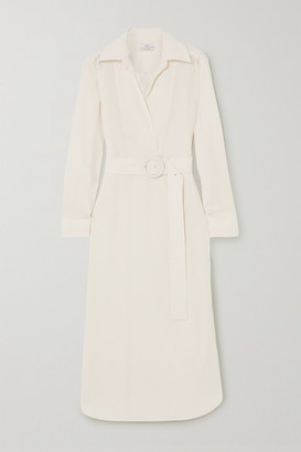 Co Belted Wrap-effect Satin-jersey Midi Shirt Dress - Ivory