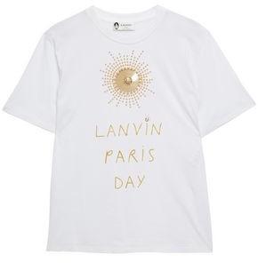 Lanvin Embellished Printed Cotton-jersey T-shirt