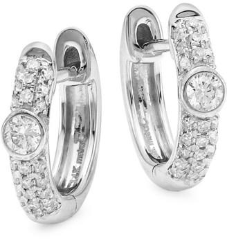 Meira T 14K White Gold & Diamond Huggie Earrings