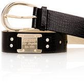 Black Croc Belt with Gold Logo Plaque