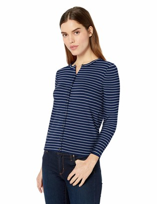 Lark & Ro Amazon Brand Women's Three Quarter Sleeve Crewneck Cashmere Cardigan