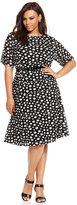 Anne Klein Plus Size Polka Dot Belted Dress