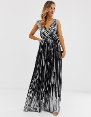 City Goddess sequin chiffon wrap maxi dress