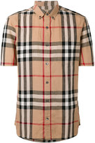 Burberry checked shortsleeved shirt - men - Cotton/Linen/Flax - S