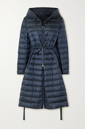 Max Mara The Cube Hooded Quilted Shell Down Jacket - Navy