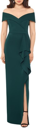 Xscape Evenings Off the Shoulder Ruffle Column Gown