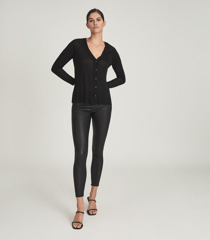 Reiss Paloma - Fine Jersey Cardigan in Black