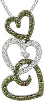 FINE JEWELRY 1/2 CT. T.W. White and Color-Enhanced Green Diamond Triple Heart Pendant Necklace