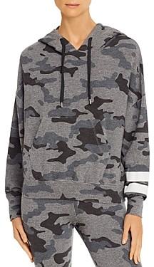 Sundry Striped-Sleeve Camo Hooded Sweatshirt