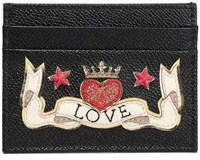 Dolce & Gabbana Appliqued Textured-leather Cardholder